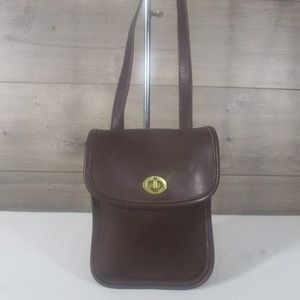 Coach 9978 Brown Leather Sidepack Crossbody Bag